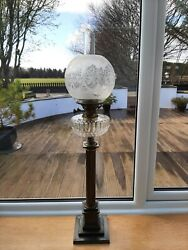 Brass Corithian Column Oil Lamp With Cut Glass Font And Etched Shade