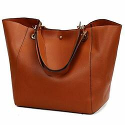 Tote Handbags for Women Faux Leather Hobo Bags Large Bucket Travel Purse Brown $41.45