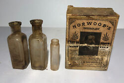 Antique Norwoodand039s Veterinary Colic Cure Bottles In Rare Box
