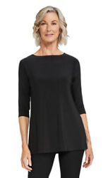 Sympli Black Nu Ideal Tunic 3/4 Sleeve Boat Neck Blouse Classic Top 8 New