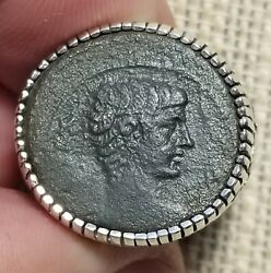 Authentic Ancient Coin Of The First Roman Emperor Augustus Sterling Silver Ring
