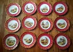 12 Royal Worcester George Johnson Hand Painted Game Bird Plates Ruby Rims 1901