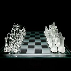 Glass Chess Set Featuring Frosted And Clear Glass Pieces With Glass Chess Board
