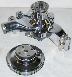 Chrome Aluminum Big Block Chevy Long Water Pump + 2 Groove Pulley Bbc 396 454