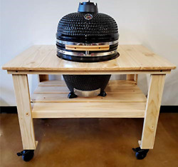 Black Outdoor Charcoal 21 Ceramic Egg Kamado Bbq Grill Smoker With Wood Table