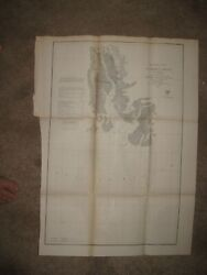 Huge Rare Antique 1856 St Marks River Florida Maritime Map Chart Tallahassee