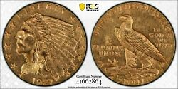 1927 2.50 Gold Indian Head Quarter Eagle Pcgs Ms63 Us Mint Coin