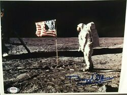 Buzz Aldrin Apollo 11 Signed Lunar American Flag Photo Dual Authenticated Psajsa