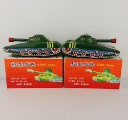 Vintage Chinese Tin Toy Friction Drive Light Tank With Pilot Mf 721