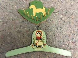 Vintage Nursery Rhyme Childandrsquos Wooden Hanger Plus Handpainted Wall Hanger