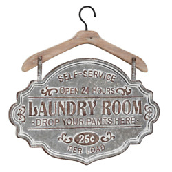 Farmhouse Laundry Room Sign, Whitewashed Wood And Silver Metal, Vintage Look