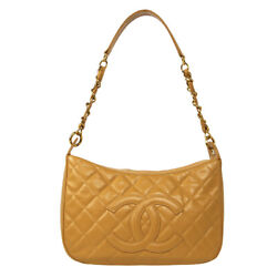 Quilted Cc Chain Hand Bag 10231576 Purse Beige Caviar Skin Leather 60499