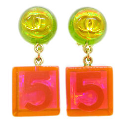 Cc Logos No.5 Shaking Earrings Clip-on Gold-tone 97p Pink Green 60356