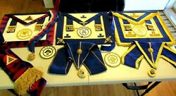 Estate Masonic Items Norfolk U.k. 3 Aprons,collars With Jewels Huge Collection