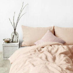 100 Washed Linen Duvet Cover Queen-3 Pcs Solid Natural Flax Bedding Set Peach