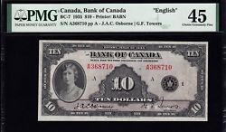 1935 Bank Of Canada 10 In Pmg Ef45 Bc-7