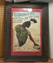 Antique R.c. Brown New York Cigars Antique Advertising Sign Poster 1880s