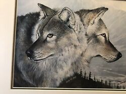 Eddie Lepage Signed Print Wolves Personal Gift Unique Framed Finished W/ Glass