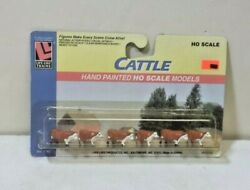 Cattle - Brown And White Model Railroad Life Like 1183 -- 6 Pieces Scenery Ho
