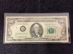 1969 A 100 Bill Star Replacement Note Boston Low Serial Birthday Year 1943 Rare