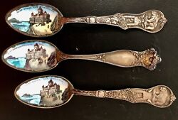 Lot Of 3 The Cliff House San Francisco Antique Sterling And Enamel Souvenir Spoons
