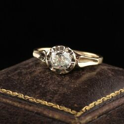 Gorgeous Antique Victorian 18k Yellow Gold Old Mine Cut Diamond Engagement Ring.
