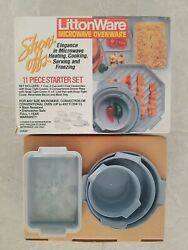 New Vtg Littonware 11 Piece Starter Set Microwave Oven Ware Pan Plate Tray Cover