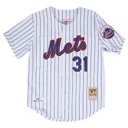 New York Mets Mike Piazza 31 Mitchell And Ness White Mlb 2000 Authentic Jersey