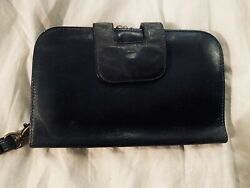 Vintage Hobo International Dark Blue Leather Wallet With Hand Strap $70.00