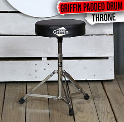 Griffin Drum Throne - Padded Percussion Seat Drummers Stool Guitar Chair Stand