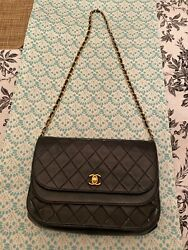 Vintage Lambskin Quilted Small Round Flap Black