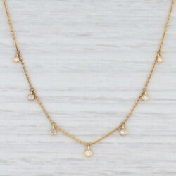 New 0.16ctw Diamond Drop Station Necklace 10k Yellow Gold 16 Cable Chain