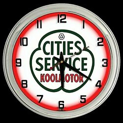 16 Cities Service Gas Oil Sign Red Neon Clock Man Cave Garage Gas Station