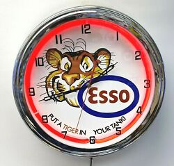 16 Esso Gasoline Motor Oil Gas Station Tiger In Your Tank Sign Red Neon Clock