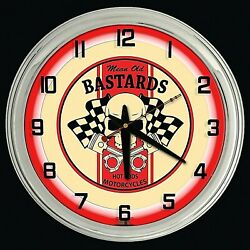 16 Mean Old Bastards Hot Rods Motorcycles Sign Red Neon Clock