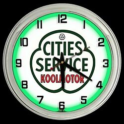 16 Cities Service Gas Oil Sign Green Neon Clock Man Cave Garage Gas Station