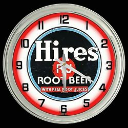 16 Hires Root Beer Sign Red Neon Clock Chrome Finish Man Cave Garage