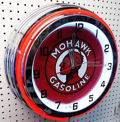 18 Mohawk Gasoline Sign Double Neon Clock Gas Station Lube