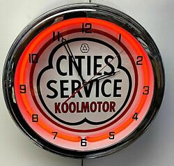 16 Cities Service Oil Gas Nostalgic Sign Red Neon Wall Clock Garage Man Cave