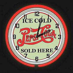 19 Pepsi Cola Ice Cold Sold Here Sign Red Double Neon Clock Man Cave Bar Garage