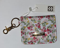 Mary Square Lancaster Meadows Floral Id Wallet Gold Tone Keychain Ring Nwt