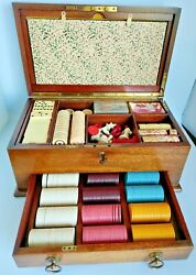 Rare Antique Mahogany Gaming Chest Beautiful Playing Pieces Poker Chess Dominoes