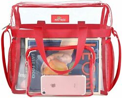 Clear Bag Stadium Approved Transparent Clear Tote Bag for Work Sports GamesRed $22.47