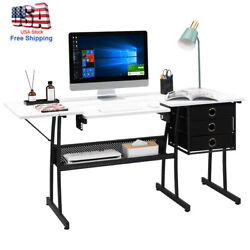 Sewing Craft Cutting Table Computer Desk W/ 3 Non-woven Drawers And Lifting Board