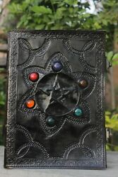 Leather Diary Journal Seven Chakra Medieval Stone Note Book Blank Handmade Paper