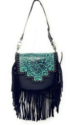western cross body bag leather floral tooled fringe purse cowgirl small bag new $34.99