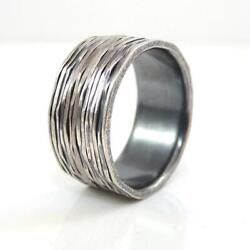 Todd Reed Palladium Sterling Silver Lined Band Ring Size 9 With Bag Lhg4