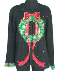 Design Options Philip And Jane Gordon Christmas Wreath And Stars Sweater - Xl