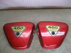 Vintage Honda 450 Dohc Red Side Covers Old Motorcycle Used Parts 235a