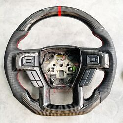 Genuine Ford Shelby F150 Raptor Carbon Fiber Steering Wheel Red Stitching